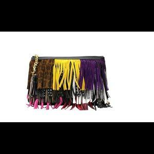 YSL saint laurent clutch/bag in leather w/ fringes